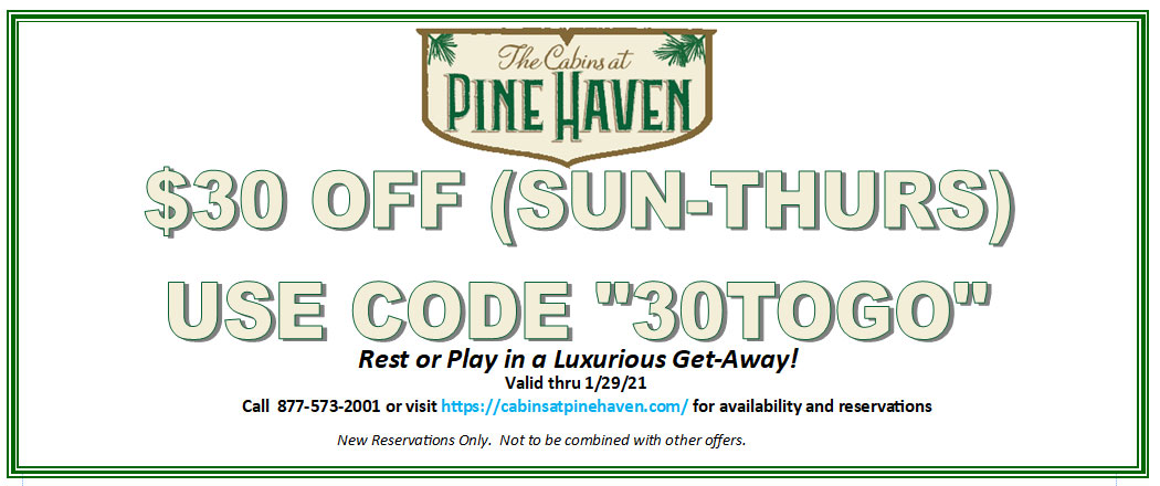 """Take $30 off (Sun - Thurs) Use Code """"30TOGO"""" When Booking Online. Valid Through 1/29/21. So really...Why not? Book online or call 877-573-2001"""